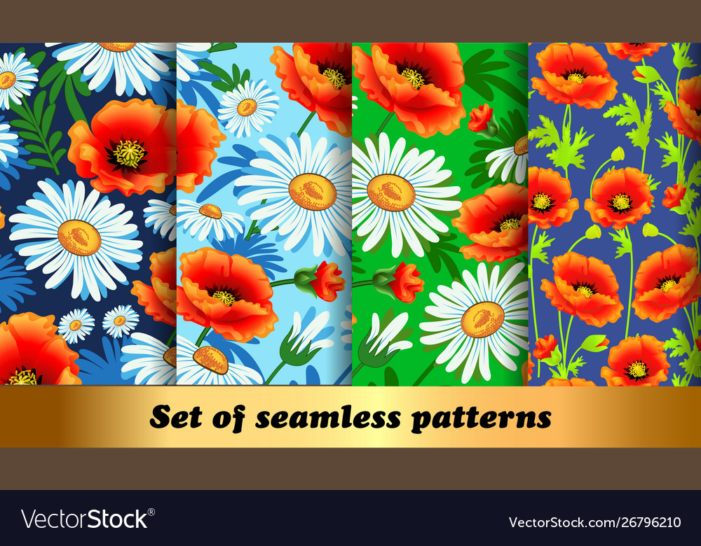 Set floral seamless patterns with poppies and