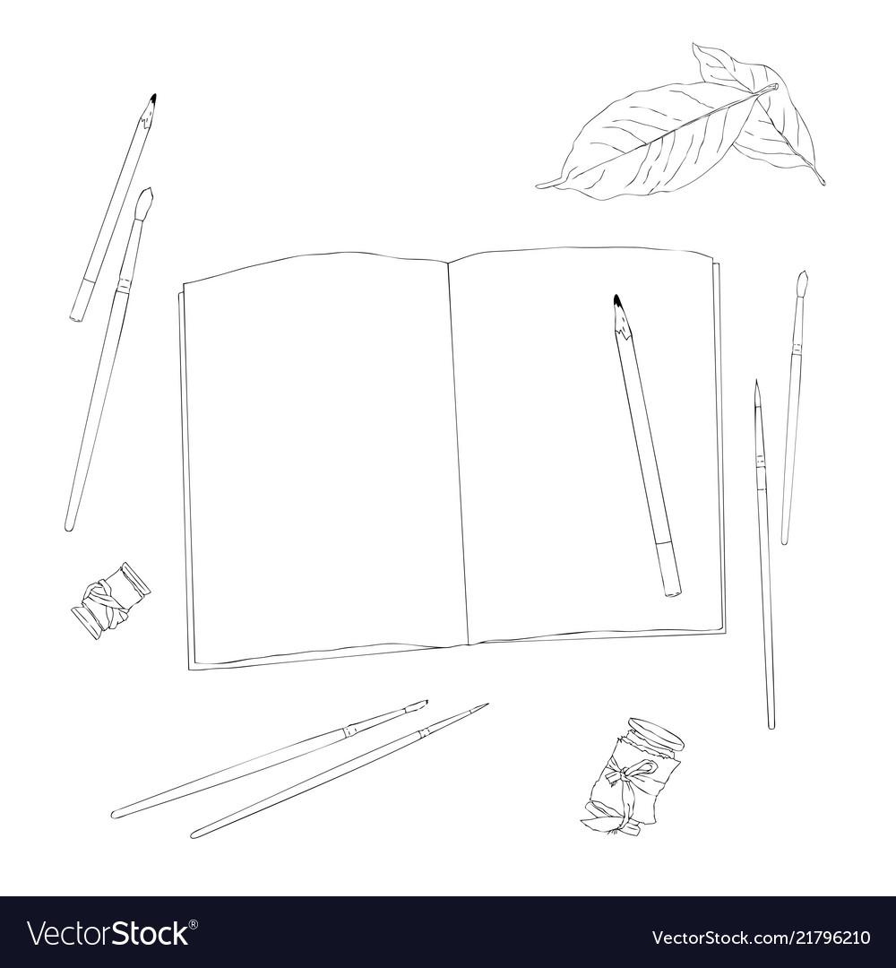 Set of creative working tools notebook pen