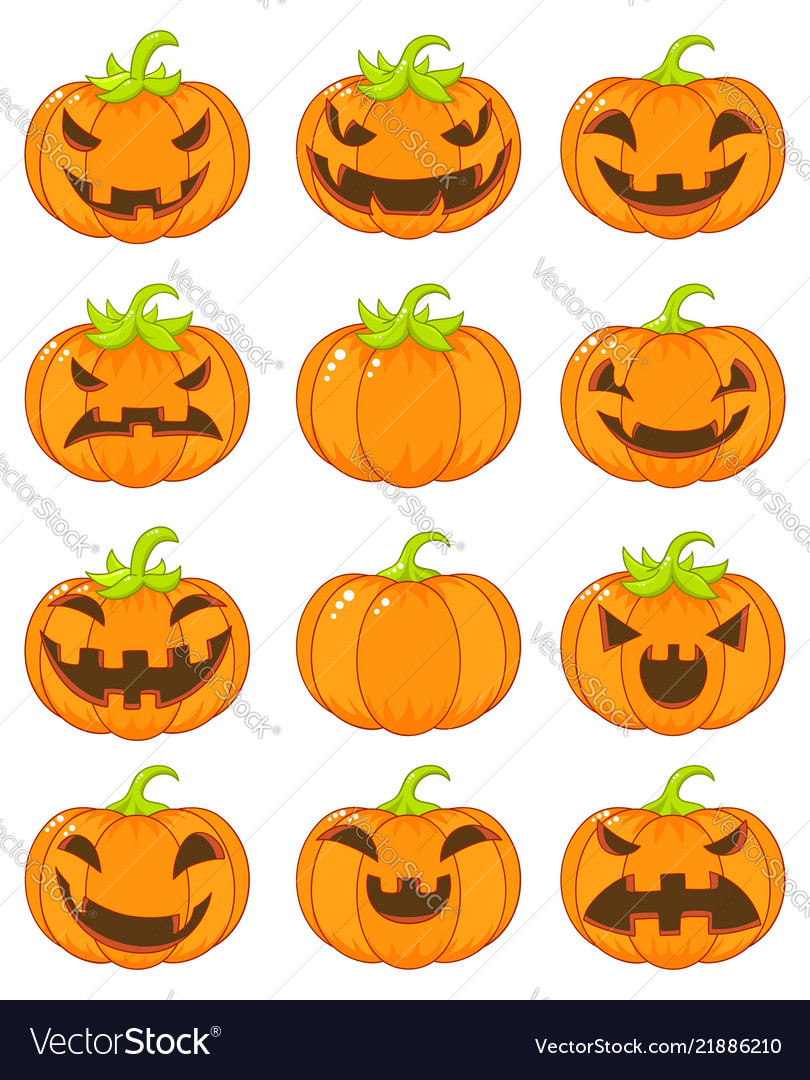 Set of terrible and smiling pumpkins for