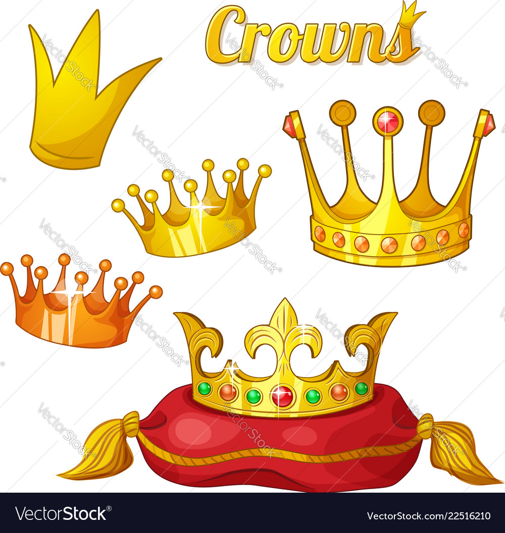 Set royal gold crowns isolated on white
