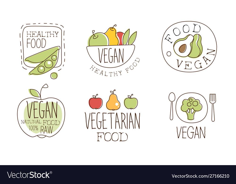 Vegan healthy food labels set natural vegetarian