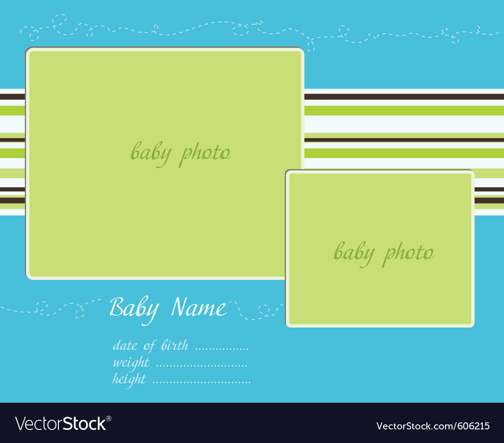 baby arrival blue green card with photo frames vector image