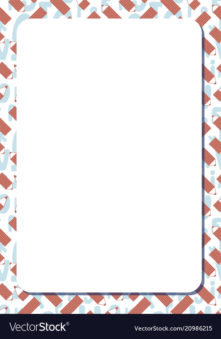 Blank white frame on background with cute cartoon Vector Image