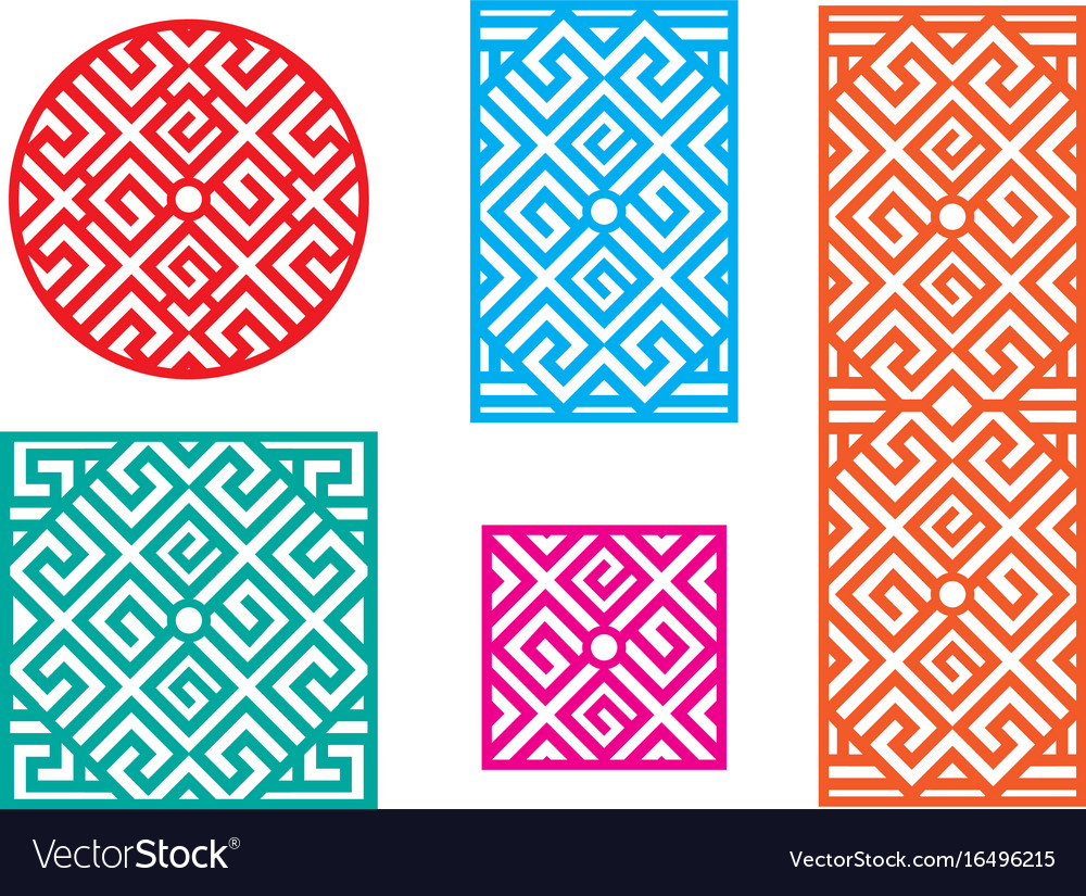 Chinese Fence Design Chinese pattern frame for window and fence vector image workwithnaturefo