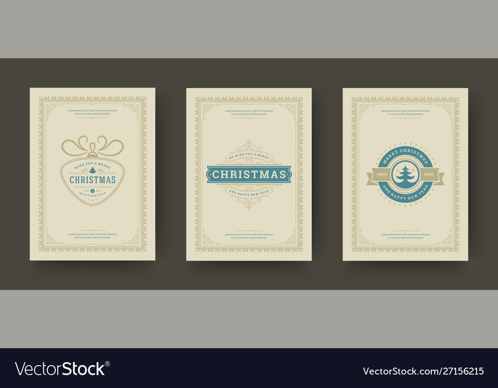 Christmas greeting cards set vintage typographic