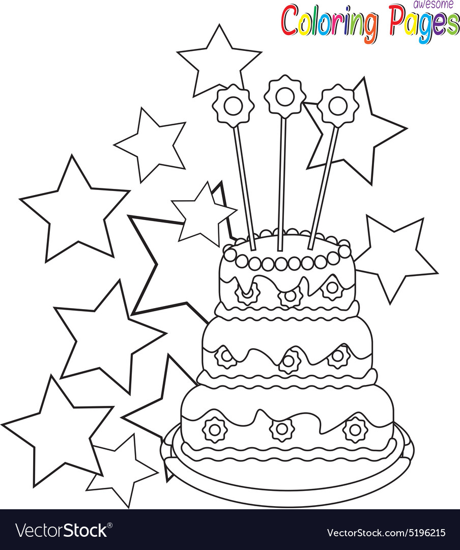 Coloring-book-birthday-cake Royalty Free Vector Image