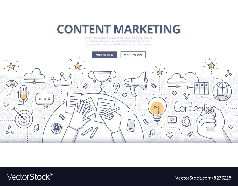 Content Marketing Doodle Concept vector image