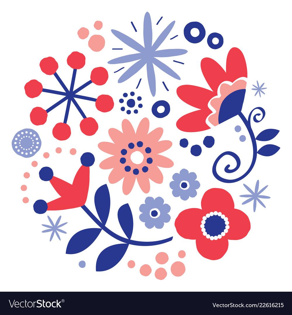 Folk art floral greeting card design round