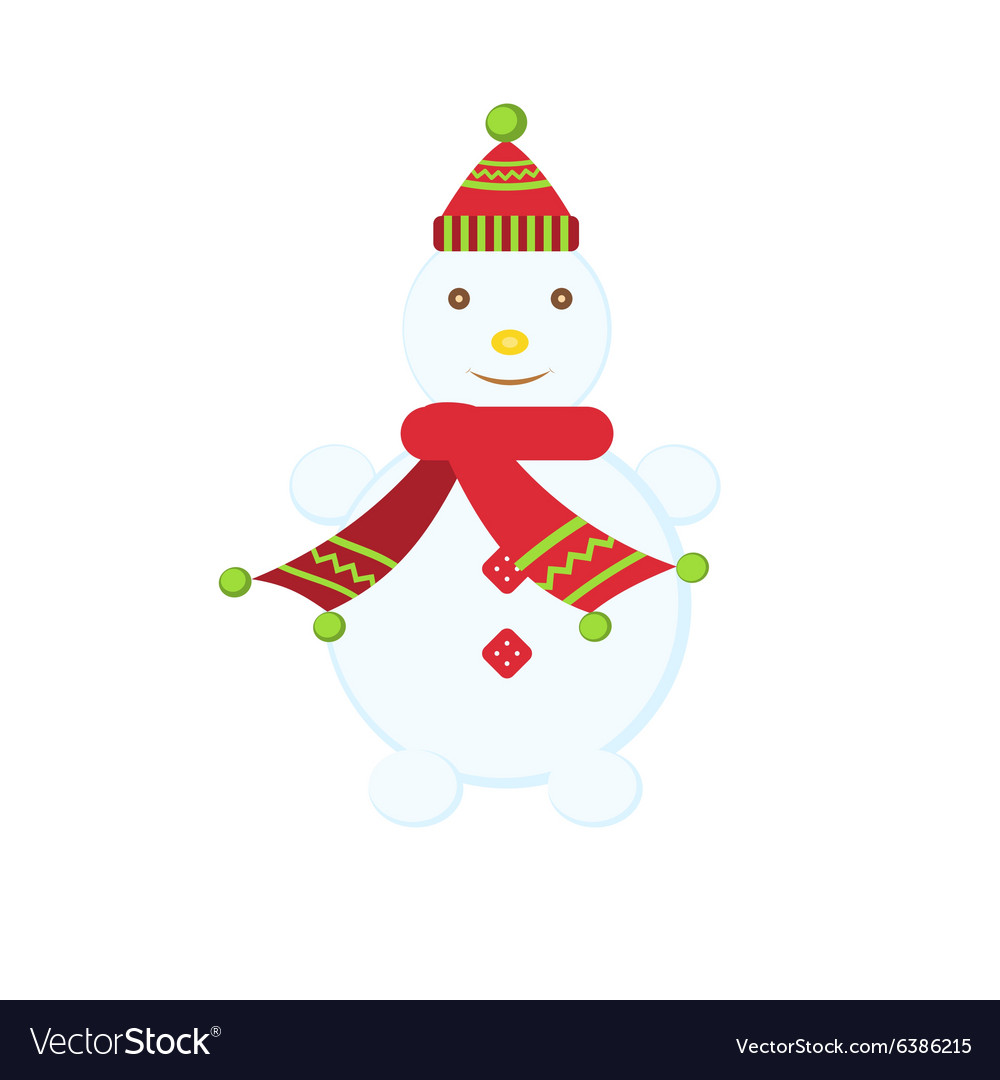 Funny Christmas snowman in a hat and scarf vector image