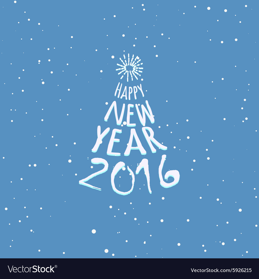Happy New Year blue greeting card template vector image
