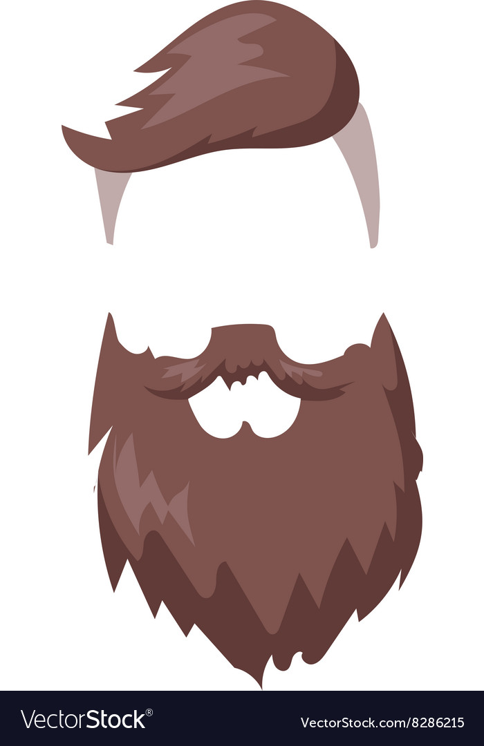 Hipster Fashion Men Hair And Beard Vector Image