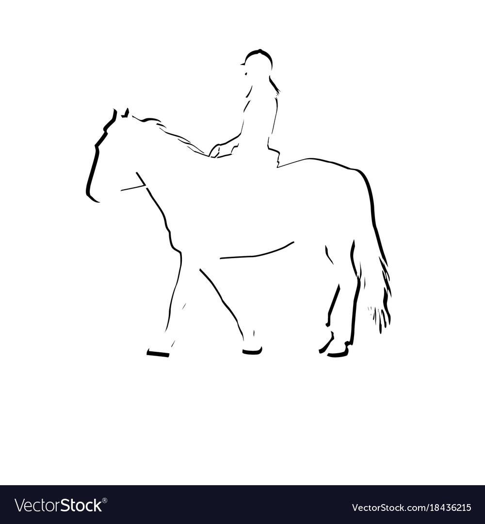 Horse rider silhouette icon vector image