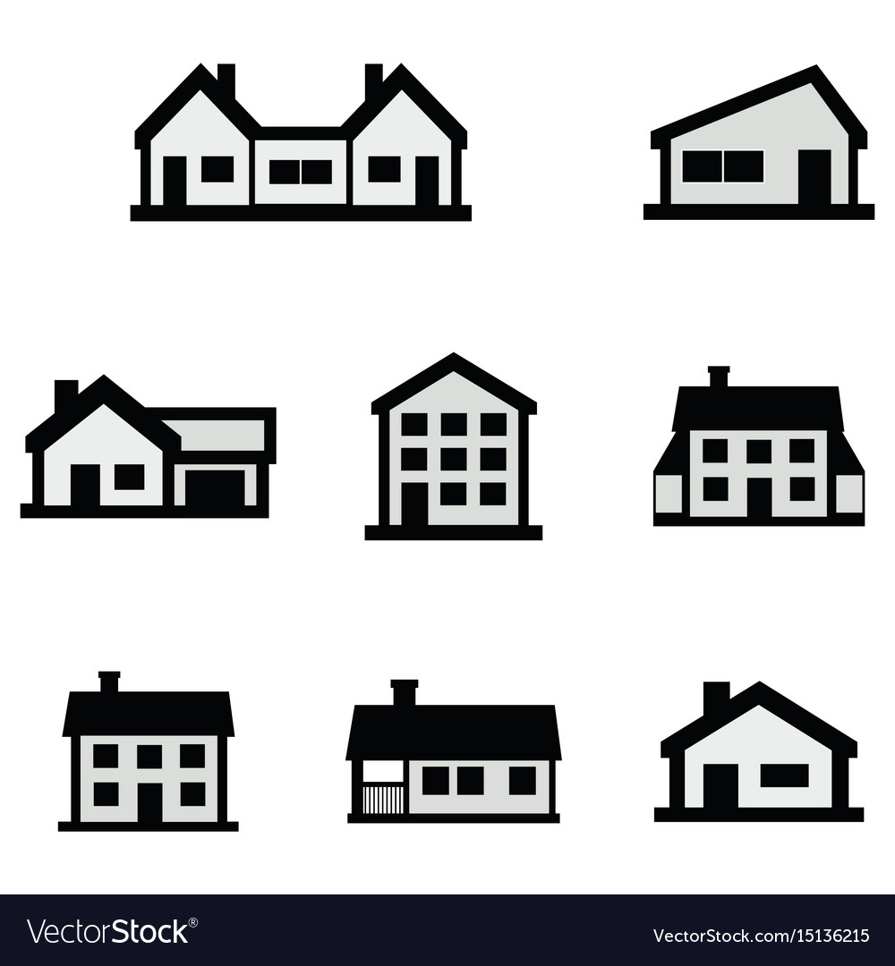 Line house icons set on white background