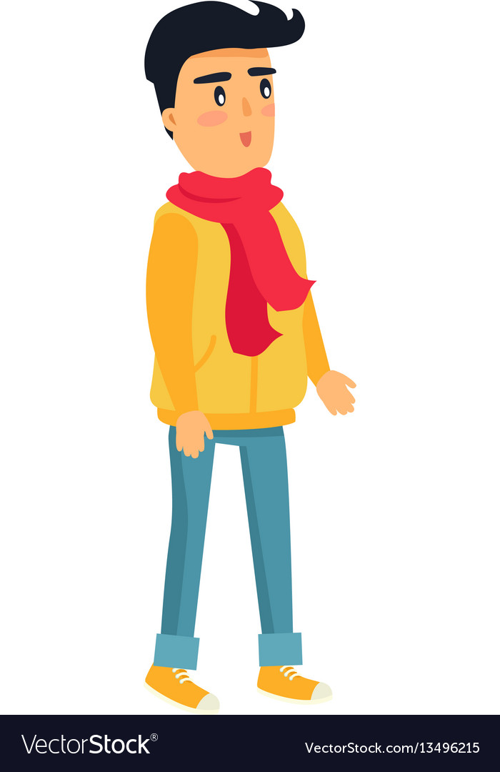 Little standing boy in yellow jacket and red scarf vector image