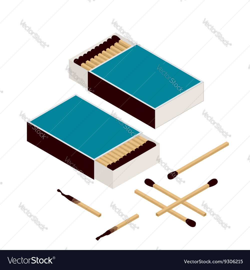 Matches and matchbox Isolated on white New