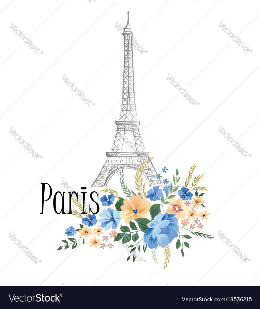 Paris background floral paris sign with flowers