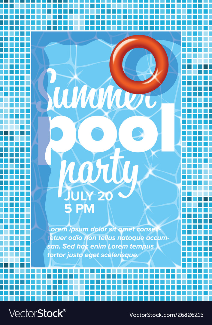 Pool party invitation flyer poster template