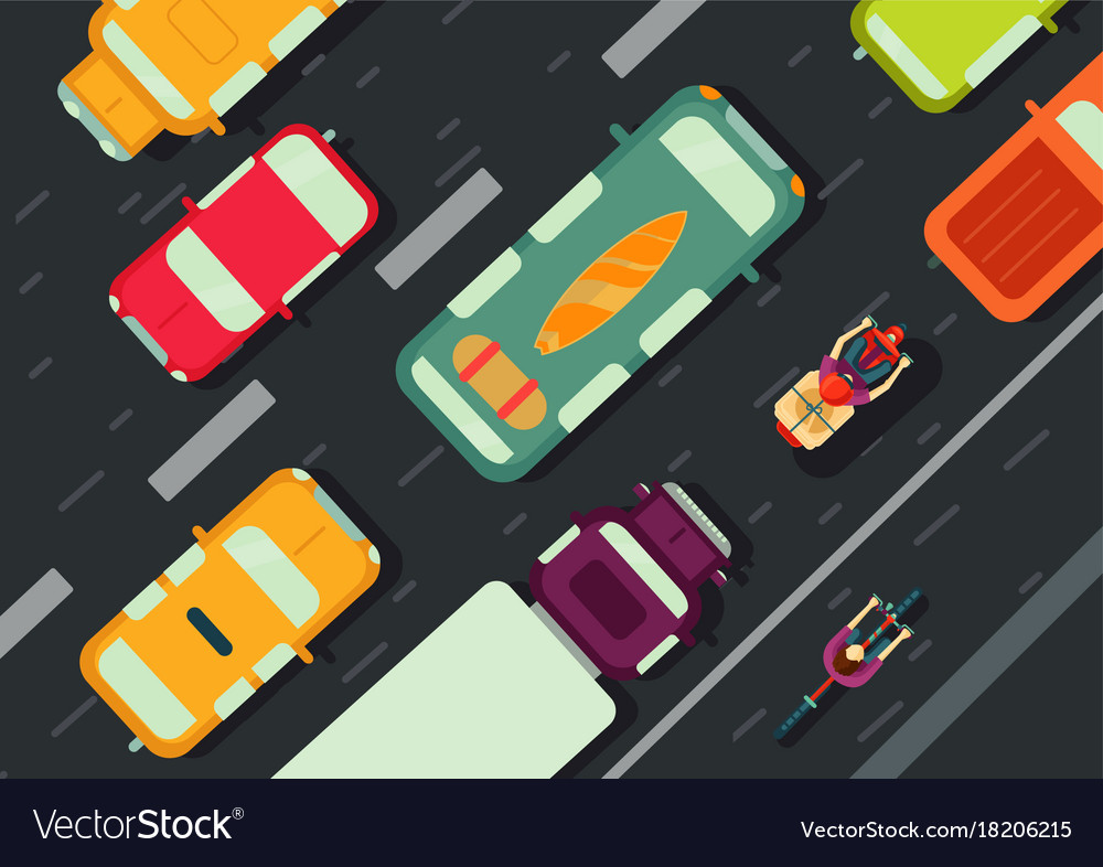 Road with cars top view city traffic flat style vector image