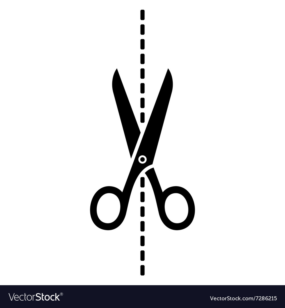 Scissors Icon with Cut Line on White Background