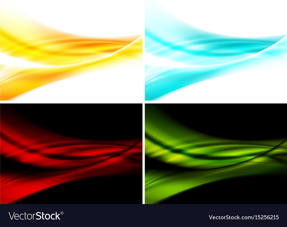 Set of bright abstract waves backgrounds vector image