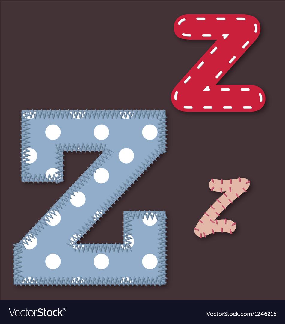 Set of stitched font - Letter Z vector image
