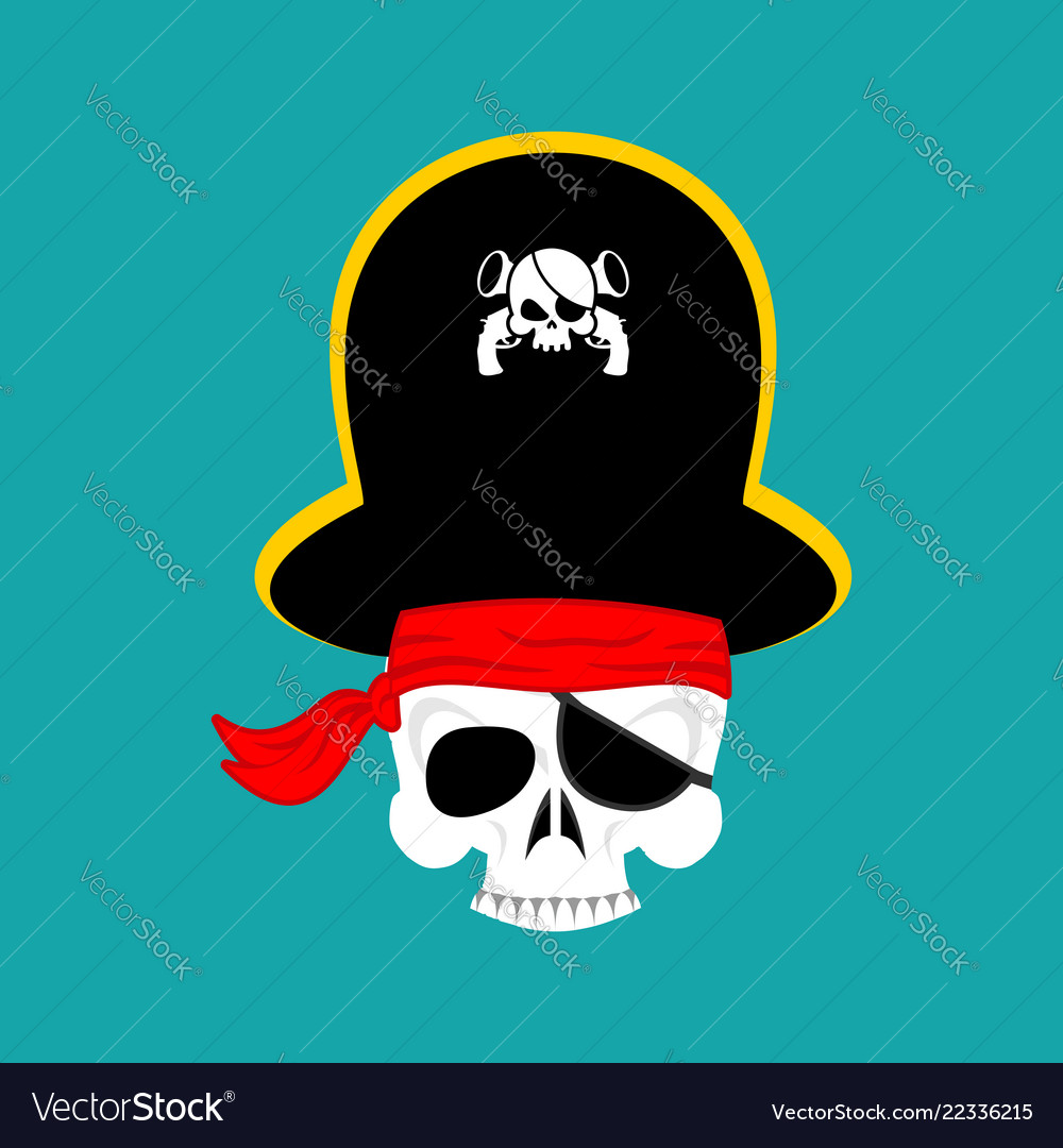 Skull pirate portrait in hat eye patch filibuster
