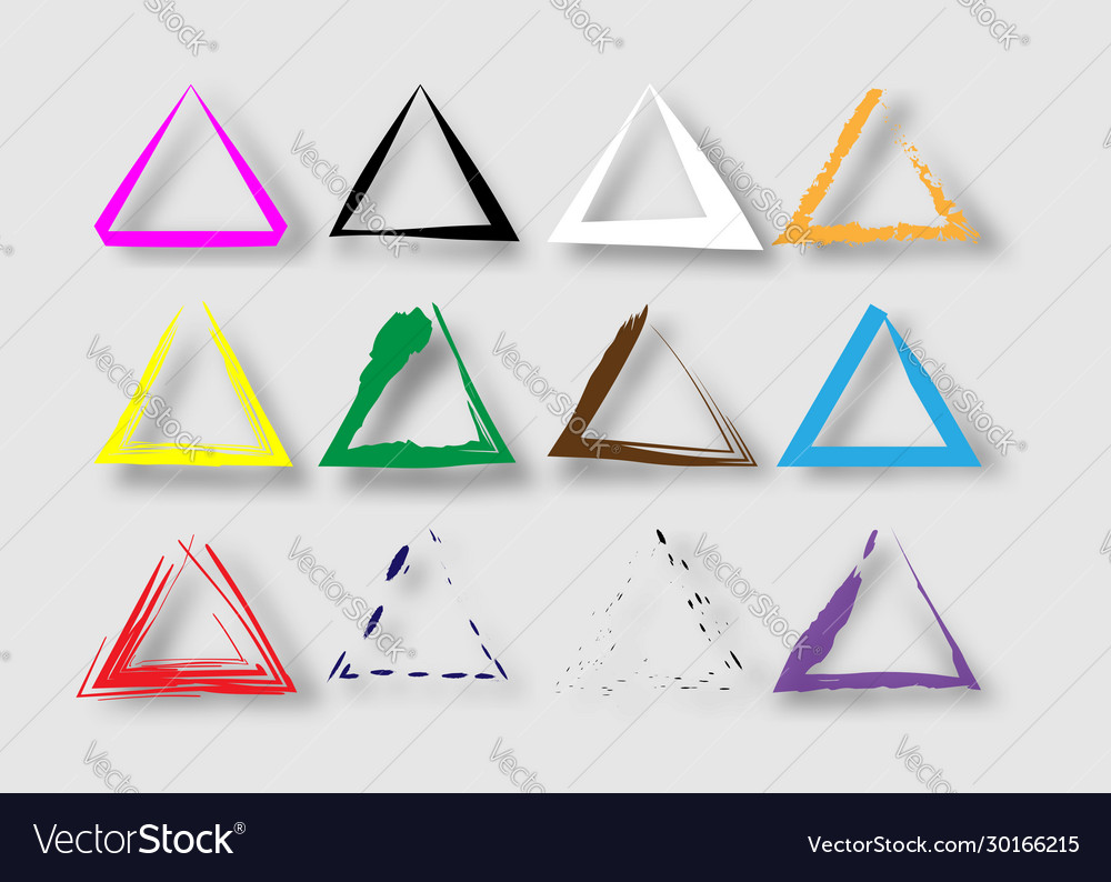 Triangular stamps collection set grunge triangles