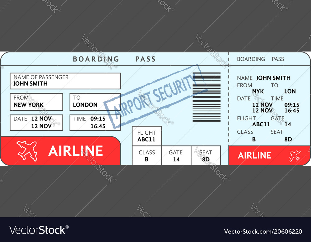 Airport ticket with filled fields and security