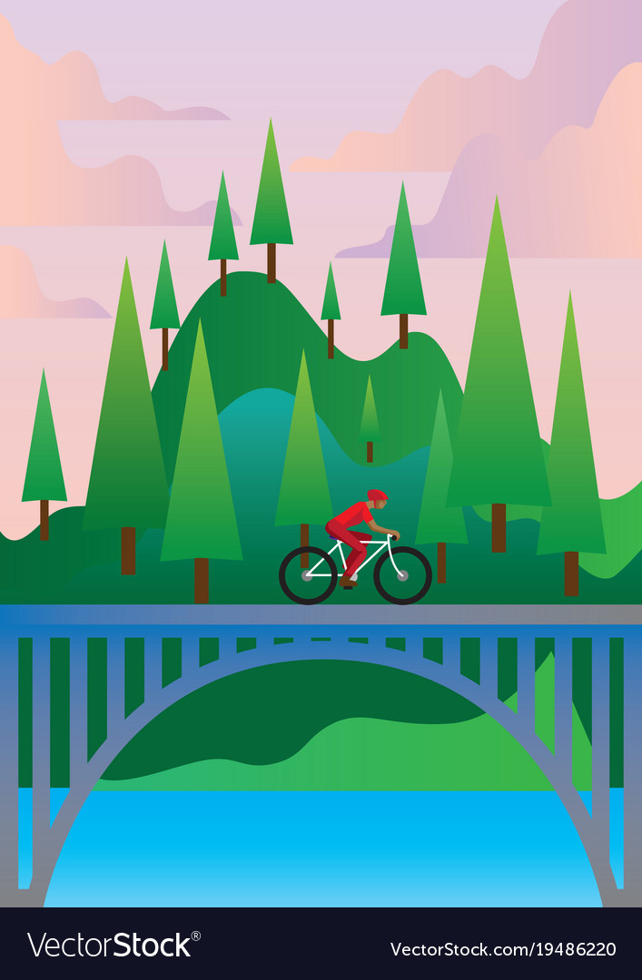Bicycle traveling vector image