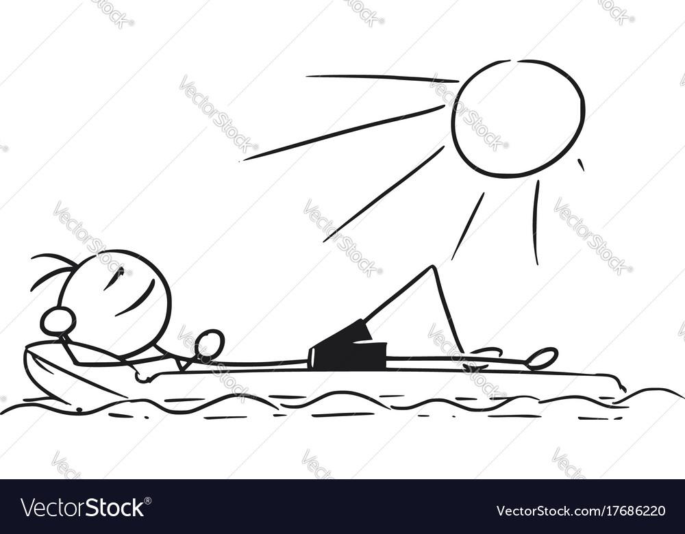 Cartoon stick man relaxing on airbed air mattress