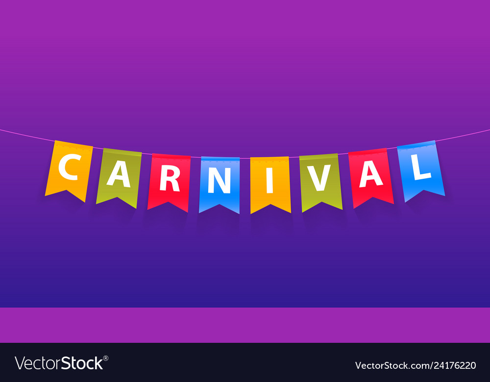 Colorful handmade typographic word carnival on