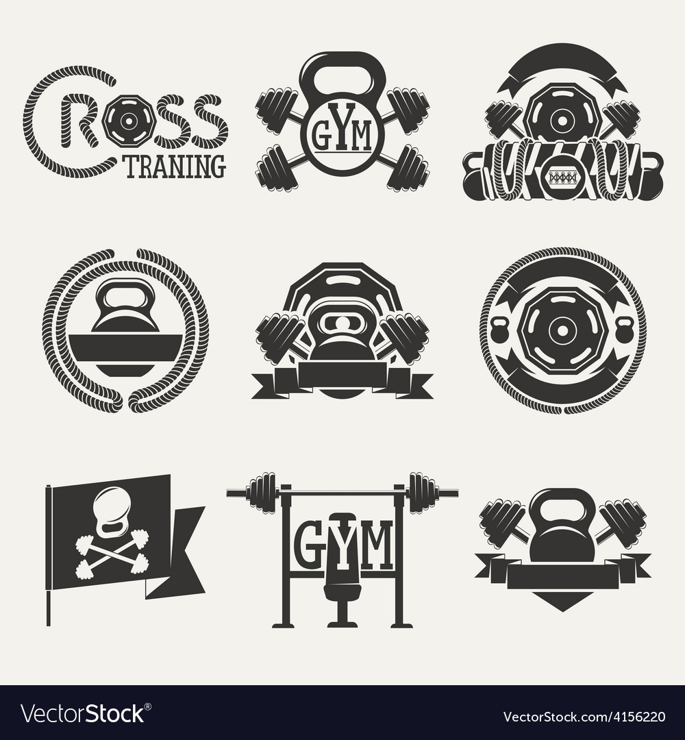 Cross Fitness and GYM logo vector image