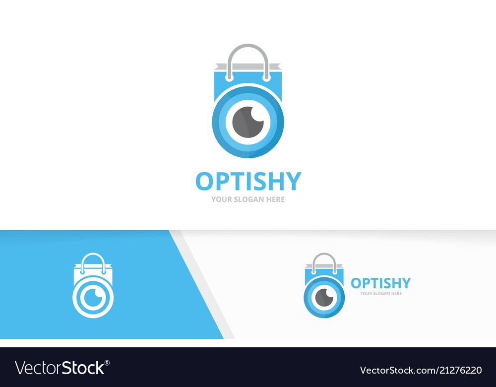 Eye and shop logo combination optic and