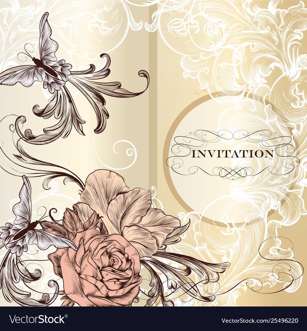 Fashion Invitation Card With Roses