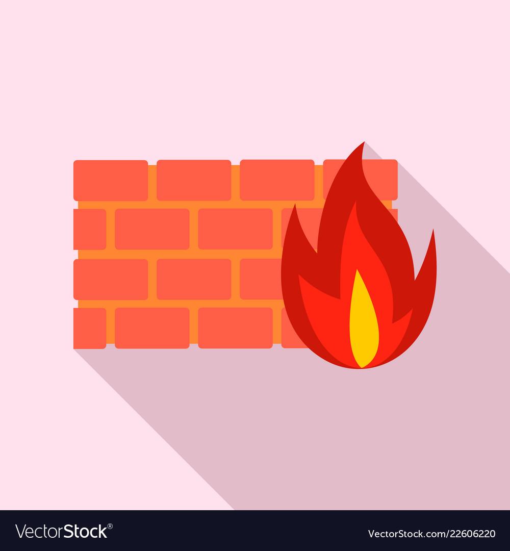 Firewall icon flat style