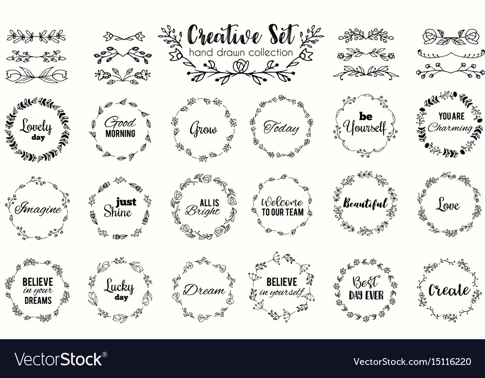 Floral wreath set hand drawn flourish frames vector image