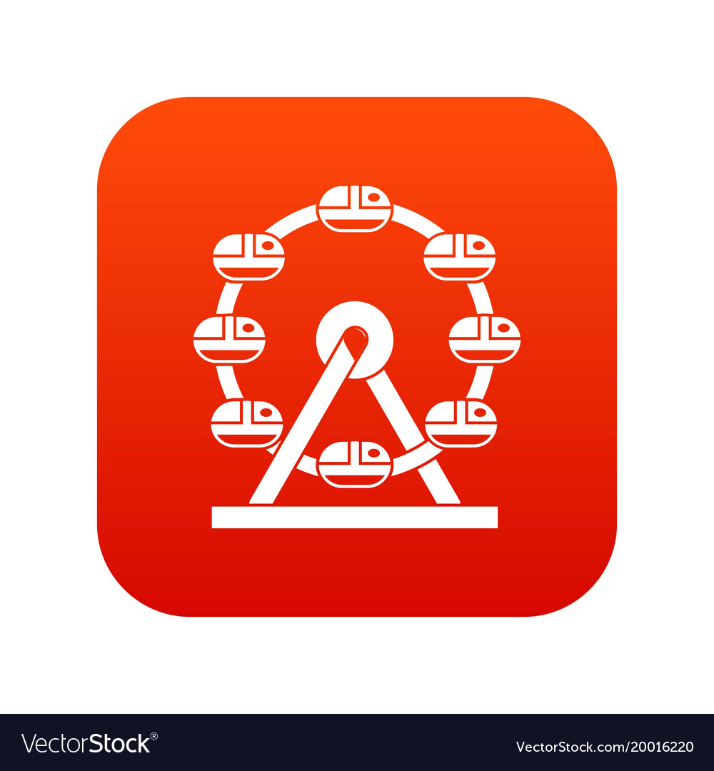 Giant ferris wheel icon digital red