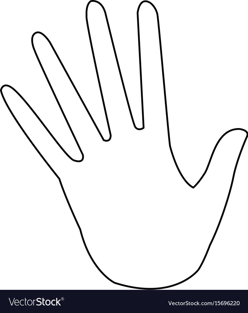 Hand Palm Stop Finger Five Symbol Royalty Free Vector Image