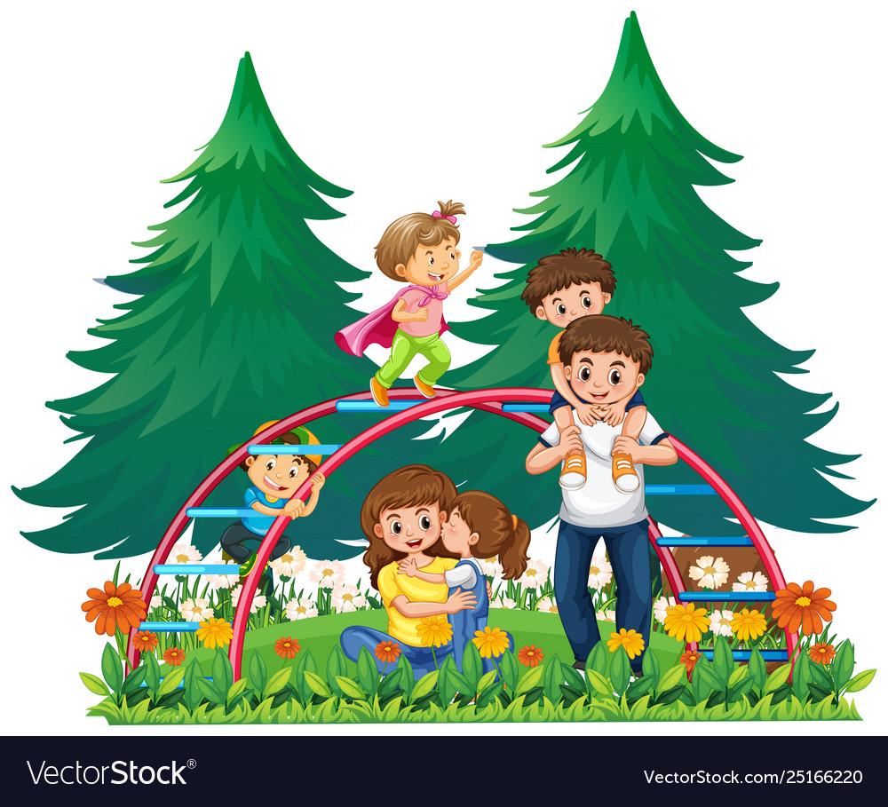 Happy family at playground