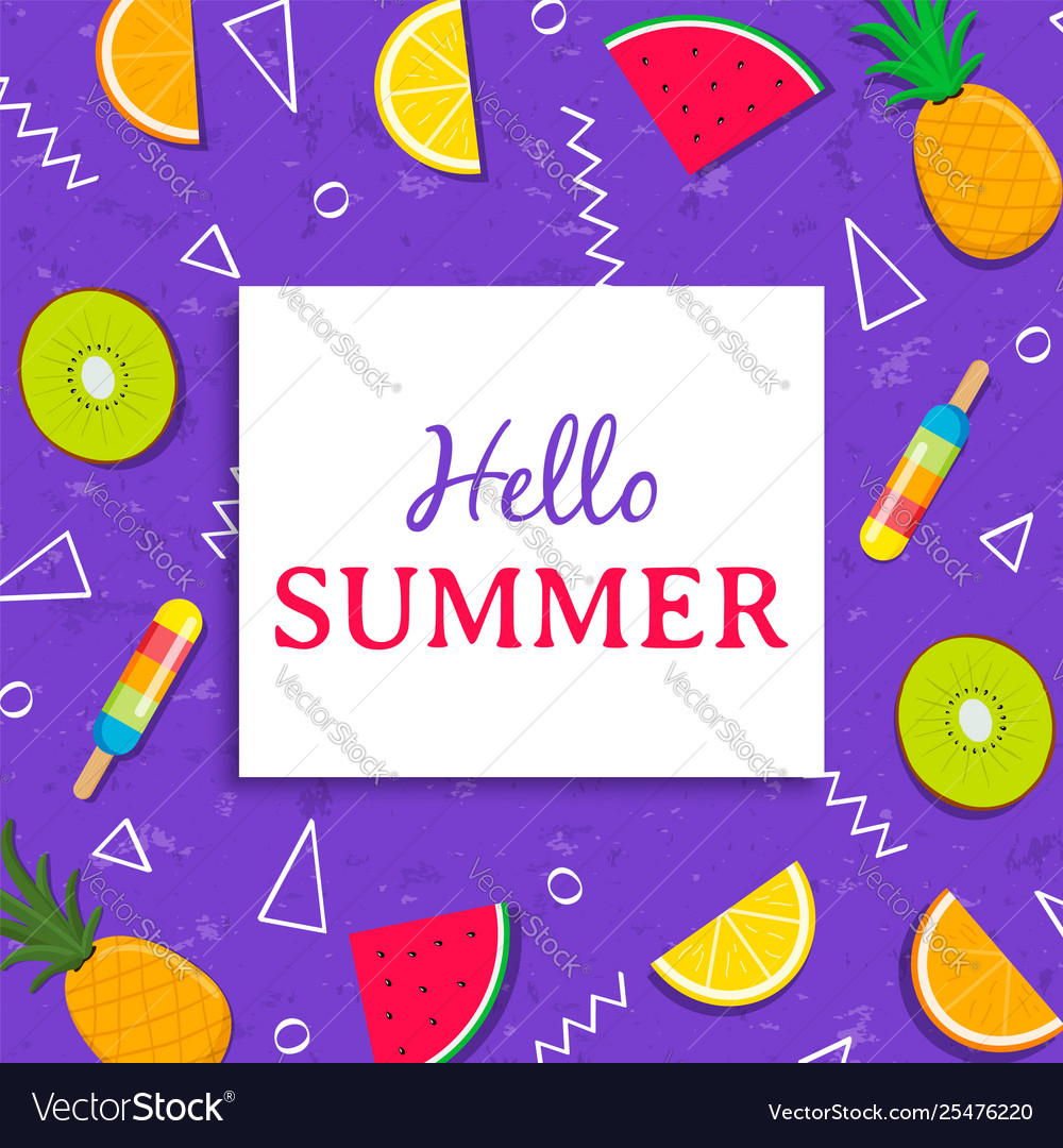 Hello summer card with tropical fruit ice cream