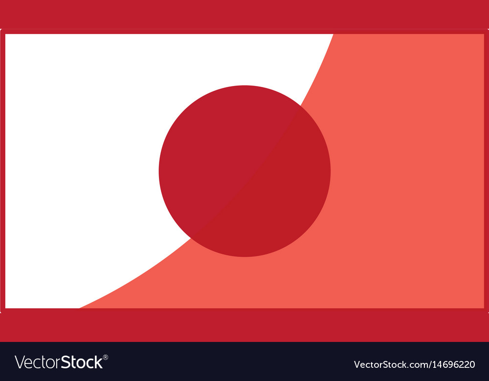 Japan Flag Emblem Country Symbol Red Line Vector Image