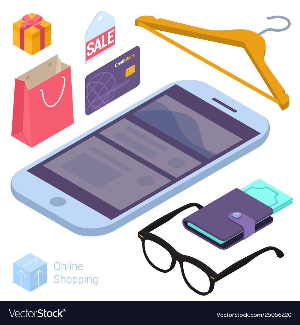 Online shopping isometric design elements