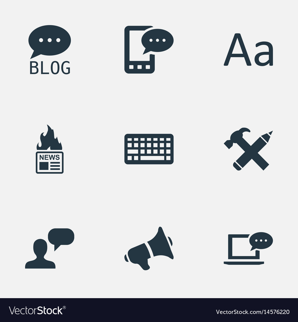 set of simple newspaper icons royalty free vector image