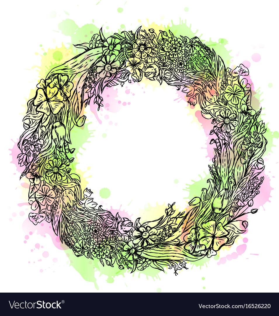 Watercolor hand drawn wreath of flowers vintage