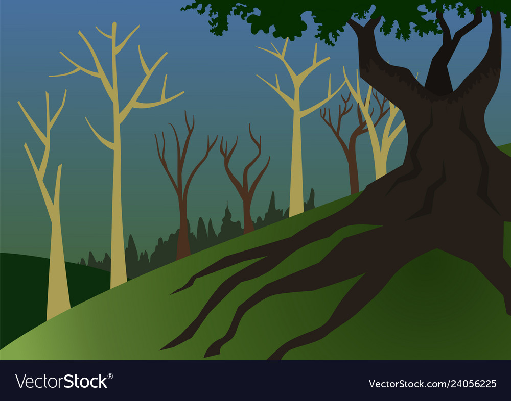 A forest landscape with a big and dark tree in