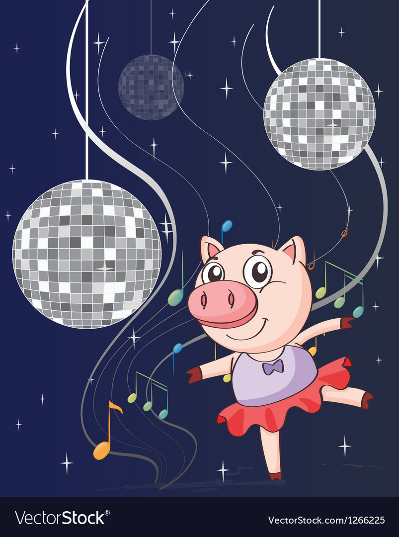 A pig dancing with disco lights vector image