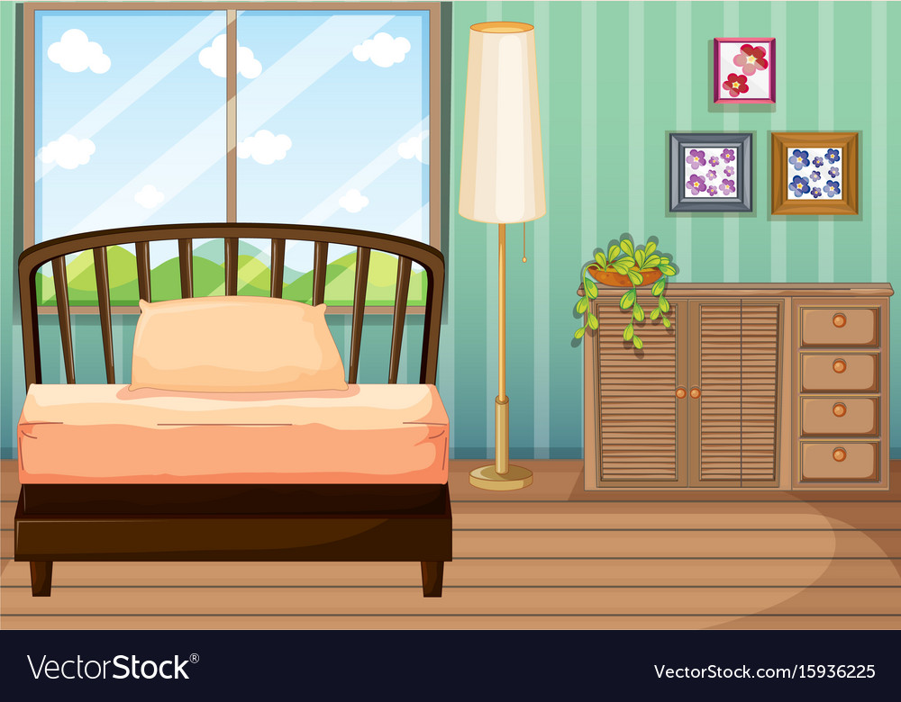 Bedroom with wooden furnitures