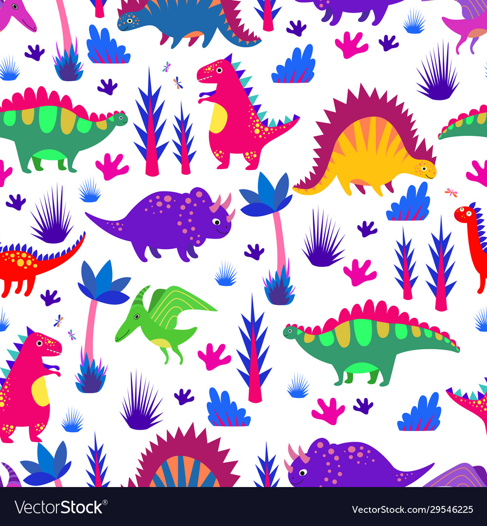 Bright colorful funny dinosaurs seamless pattern