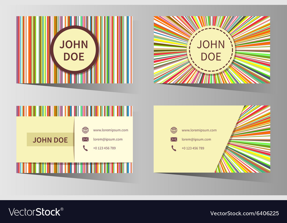 Business card templates with rainbow