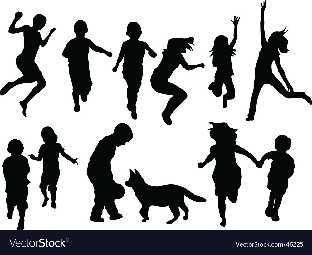 children silhouettes royalty free vector image rh vectorstock com mother child silhouette vector mother child silhouette vector